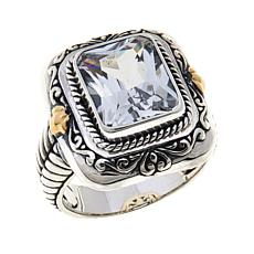 Bali Designs Sterling Silver and 18K Gold Created White Sapphire Ring