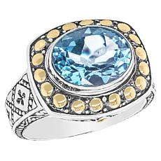 Bali Designs Sterling Silver and 18K Gold Oval Gemstone Ring