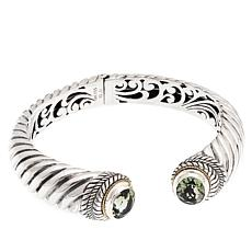 Bali Designs Sterling Silver and 18K Gold Prasiolite Hinged Cuff