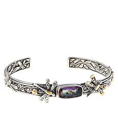 Bali Designs Sterling Silver and 18K Rainbow Quartz Dragonfly Cuff