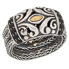 Bali Designs Sterling Silver and 18K Tulang Naga Gemstone Band Ring