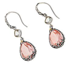 Bali Designs Sterling Silver Double Gemstone Drop Earrings