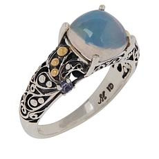 Bali Designs Sterling Silver Ethiopian Opal and Tanzanite Scroll Ring