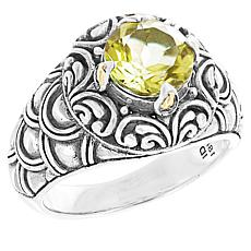 Bali Designs Sterling Silver Gemstone Scalloped Ring