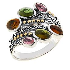Bali Designs Sterling Silver Multi-Color Tourmaline Bypass Ring