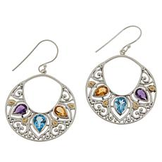 Bali Designs Sterling Silver Multi-Gem Hoop Dangle Scroll Earrings