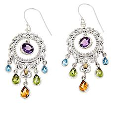 Bali Designs Sterling Silver Multi-Gemstone Chandelier Circle Earrings