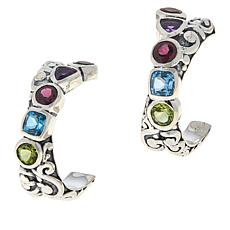 Bali Designs Sterling Silver Multi-Gemstone Scroll Hoop Earrings