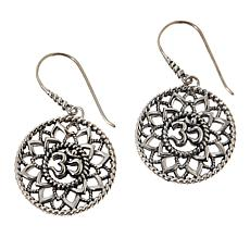 Bali Designs Sterling Silver Om Drop Earrings