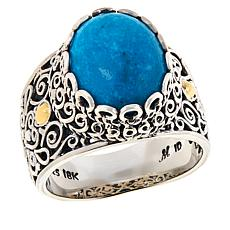 Bali Designs Sterling Silver Oval Turquoise Scrollwork Ring