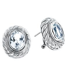Bali Designs Sterling Silver White Topaz Cable Stud Earrings