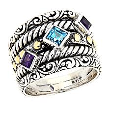 Bali Designs Topaz and Amethyst Ring with 18K Accents
