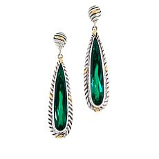 Bali Designs Two-Tone Sterling Silver Created Emerald Doublet Earrings