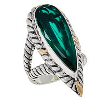 Bali Designs Two-Tone Sterling Silver Lab-Created Emerald Ring