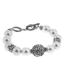 Bali Designs White Coated Shell Bead Toggle Bracelet