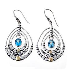 Bali RoManse 4ctw Swiss Blue Topaz Chandelier Earrings