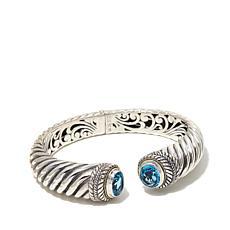 Bali RoManse 8.58ctw Swiss Blue Topaz Hinged Bracelet