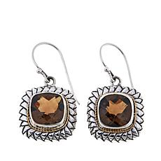 Bali RoManse 9ctw Smoky Quartz Cushion Earrings