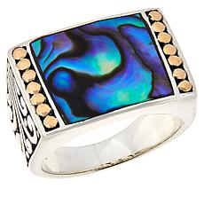 Bali RoManse Sterling Silver and 18K Abalone Scroll Ring