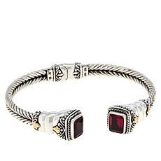 Bali RoManse Sterling Silver and 18K Created Gem Double Cable Cuff