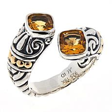 Bali RoManse Sterling Silver and 18K Cushion Gemstone Bypass Ring