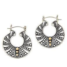 Bali RoManse Sterling Silver and 18K Decorative Circle Earrings