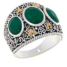 Bali RoManse Sterling Silver and 18K Gemstone Scrollwork 3-Stone Ring