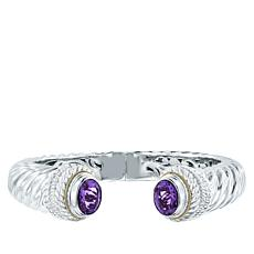 Bali RoManse Sterling Silver and 18K Gold African Amethyst Cable Cuff