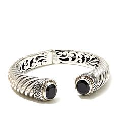 Bali RoManse Sterling Silver and 18K Gold Black Spinel Cable Cuff