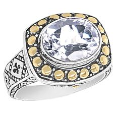 Bali RoManse Sterling Silver and 18K Gold Oval Gemstone Ring