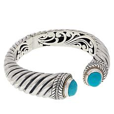 Bali RoManse Sterling Silver and 18K Gold Oval Turquoise Cable Cuff