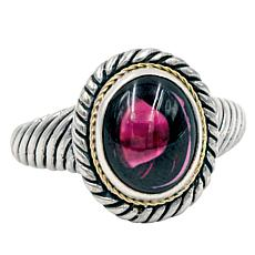 Bali RoManse Sterling Silver and 18K Gold Rhodolite Cable Ring
