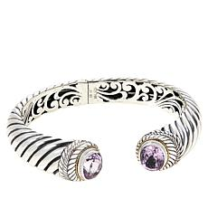 Bali RoManse Sterling Silver and 18K Kunzite Hinged Cable Cuff