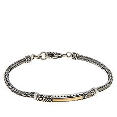 Bali RoManse Sterling Silver and 18K Tulang Naga Bar Bracelet