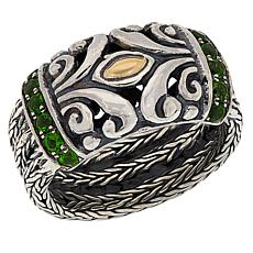 Bali RoManse Sterling Silver and 18K Tulang Naga Gemstone Band Ring