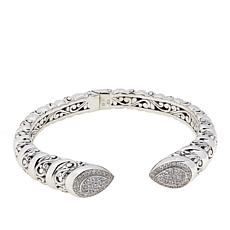 Bali RoManse Sterling Silver Cubic Zirconia Pear-Shaped Hinged Cuff