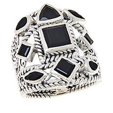 Bali RoManse Sterling Silver Gemstone Multi-Row Scroll Ring