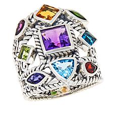 Bali RoManse Sterling Silver Gemstone Multi-Row Scroll Ring