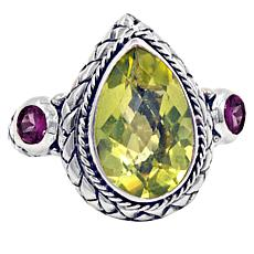 Bali RoManse Sterling Silver Lemon Quartz and Rhodolite Pear Ring
