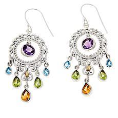 Bali RoManse Sterling Silver Multi-Gemstone Chandelier Circle Earrings