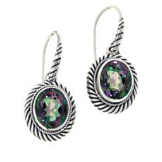 Bali RoManse Sterling Silver Oval Gemstone Cable Drop Earrings