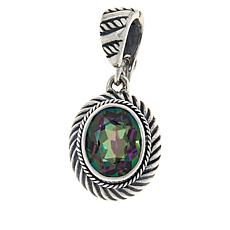 Bali RoManse Sterling Silver Oval Gemstone Cable Enhancer Pendant