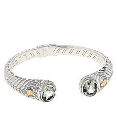 Bali RoManse Sterling Silver Oval Gemstone Hinged Cable Cuff
