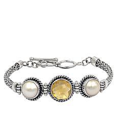 Bali RoManse Sterling Silver Round Gemstone Tulang Naga Bracelet