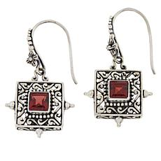 Bali RoManse Sterling Silver Square Garnet Scrollwork Drop Earrings
