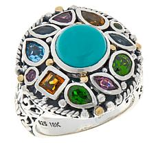 Bali RoManse Sterling Silver Turquoise and Multi-Gemstone Round Ring