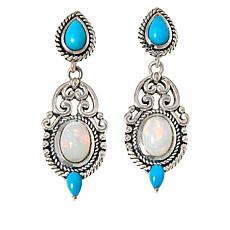 Bali RoManse Sterling Silver Turquoise and Opal Drop Earrings