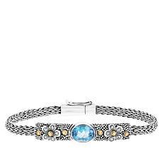 Bali RoManse Swiss Blue Topaz Flower Chain Bracelet