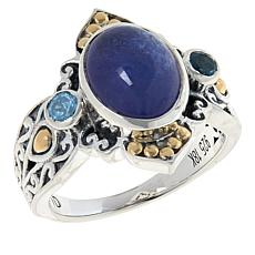 Bali RoManse Tanzanite and Swiss Blue Topaz Scrollwork Ring