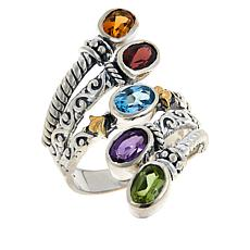 "Bali RoManse ""Waterfall""  Sterling Silver and 18K Gem Multi-Row Ring"